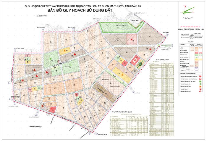 Bản đồ quy hoạch sử dụng đất Khu đô thị Bắc Tân Lợi, phường Tân Lợi, thành phố Buôn Ma Thuột